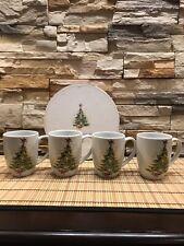 Vintage Pottery Barn Mugs Set of 4 Christmas Tree Mugs/Gobelets Microwaveable