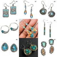 925 Sterling Silver Turquoise Gemstone Hook Dangle Stud Vintage Earring Party