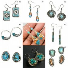 Fashion Women Turquoise 925 Sterling Silver Earrings Wedding Engagement Party