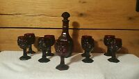 Vintage Avon Cape Cod Decanter and 9 goblets  Beautiful Ruby Red Set