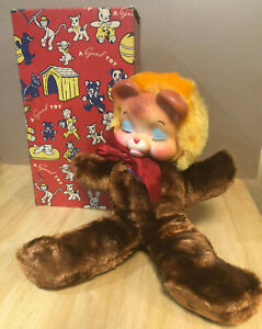 Super rare vintage large rubber face stuffed plush bear from the 1950's w/ Box
