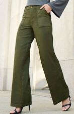 Versona Sailor Pants Wide Flare Olive Green High Rise Waist Womens 29 x 33 NEW