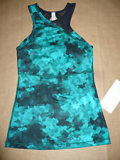 Lululemon MESHED UP TANK size 4 NWT 2 in 1 Top Bra Cosmic Teal Black Slim Fit