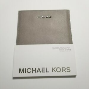 NEW MK Michael Kors Pearl Grey Saffiano Leather Sleeve Case for Apple iPad Air