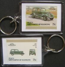 1936 FORD POPULAR Car Stamp Keyring (Auto 100 Automobile)