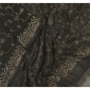 Sanskriti Vintage Dupatta Long Stole Pure Chiffon Silk Black Hand Beaded Veil