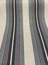 PK Lifestyle Yucatan Stripe Linen Marina Blue Fabric By the Yard