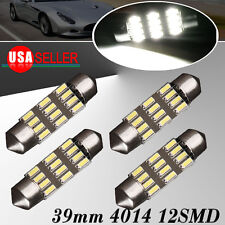 4Pcs White 39mm 4014 12smd Festoon LED Map Dome Interior Lights Bulbs C5W DE3425