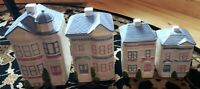 1988 Set of 4 Hearth & Home Design H&HD Large Ceramic 2 Story House Canisters