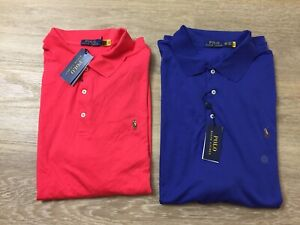 mens polo ralph lauren interlock smooth classic fit shirts big and tall red blue