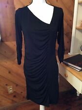 New Attention LBD Black Fitted Stretch Knit DRESS 3/4 Sleeve Front Ruched size M