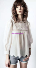 2021 spring and summer leaky lace zigzag loose shirt Zadig Voltaire