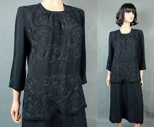 Vintage 40s Cocktail Dress Sz L Black Rayon Crepe Soutache Bombshell Gown