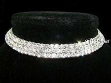 Bridesmaid Prom 3 Rows Simulated Diamond Silver Choker Necklace Xmas 10mm BN039