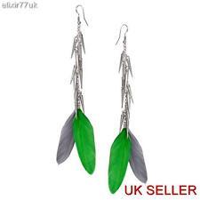 UK nouvelle Longue Chaîne Dangle Plume Argent spiky Pendants d'Oreilles Spike oreille cadeau de partie