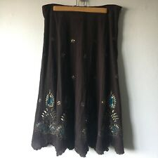 Silkland 12 Skirt Brown Embroidered Embellished Peacock Beaded Zip Lined Ruffle