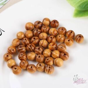 Round Wood Beads in original color Woodgrain design 8mm beads 1mm hole 100pcs
