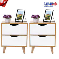 Set of 2 End Table Sofa Chair Side Accent Stand Coffee Nightstand W/2 Drawer USA