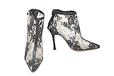 MANOLO BLAHNIK BLACK LACE w/Rhinestone Buckle Rear Zip Hi Heel Booties 39.5
