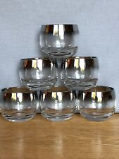 Vintage Set of 6 Wide Silver Band Roly Poly Barware Glasses - Retro! Mad Men