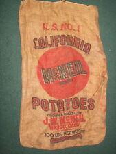 VINTAGE J. W. McNELL, WASCO, CALIFORNIA POTATOES, BURLAP / GUNNY 100LB SACK