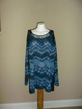 Catherines Women's plus Round neck Long Sleeve Knit top Blue Size:4X NWOT