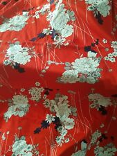 Japanese Kanebo Oriental  Fabric White Flowers Red Background 45 x 4 1/2 yards