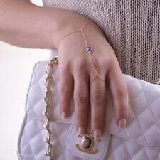 2014 New Women Jewelry Blue Eye Bead Gold Bracelet Finger Ring Hand Wrist Chain