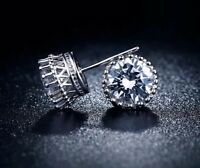 9K WHITE GOLD FILLED STUD EARRINGS MADE 2CT MADE WITH  SWAROVSKI CRYSTALS S33