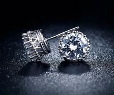 9K WHITE GOLD FILLED STUD EARRINGS MADE 2CT MADE WITH  SWAROVSKI CRYSTALS  GIFT