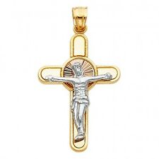 14K Yellow and white gold 2 tone Crucifix Cross Religious Pendant