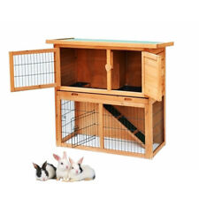 2 Tier Deluxe Portable Wood Chicken Coop Hen House Duck Poultry Hutch Pet Cage