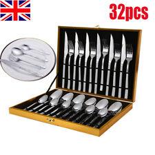Stainless Steel Silver Cutlery Set Steak Knife Spoon Fork & Teaspoon Canteen Box