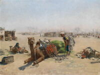 Dream-art Oil painting Middle East arab people figure with animal camel canvas