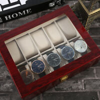 1/10 Slot Watch Box Wooden Display Case Organizer Top Jewelry Storage A
