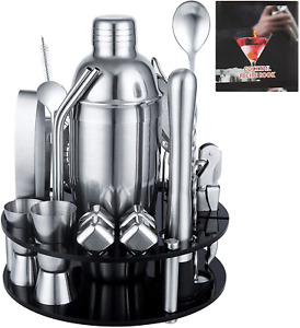Cocktail Shaker Set, 25-Piece Bartender Kit with Acrylic Rotating Stand,Dishwash
