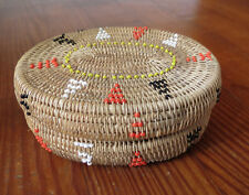 WEST COAST NATIVE AMERICAN LIDDED BASKET with BEAD DECORATIONS - American Indian