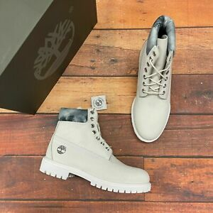 """Timberland Men's Premium 6"""" Ghost White Leather Waterproof Boots A2NCU"""