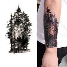 Waterproof Temporary Fake Tattoo Stickers Gray Forest Wolf Animals Large Black