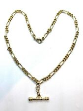 Superb Vintage Gold Plated Albert Watch Chain or Stylish T-Bar Necklace 19""