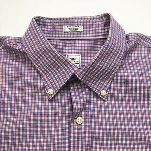 Peter Millar Nanoluxe XL Button Front Short Sleeve Dress Shirt Purple