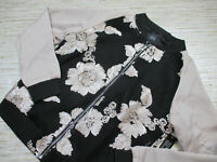 S-17 Goldie topshop floral zippered jacket BLACK/CREAM size S *defect