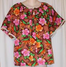 Vintage Mod 60s Hale Brown Pink Orange Tropical Hawaiian Luau Top