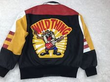 Wild Thing ~ Taz Tazmanian Devil Leather & Cotton Jacket Size Medium M Vtg 1992