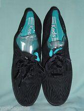 Keds Black Velour Zebra Champion Sneakers Tennis Shoes Sz 9 1/2B New Without Box