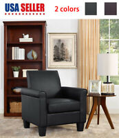 Contemporary Accent Arm Chair Faux Leather Single Sofa Seat Leisure Living Room