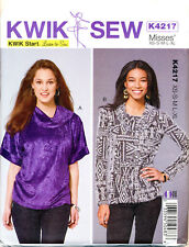 KWIK SEW SEWING PATTERN 4217 MISSES 8-22 EASY COWL NECK TOPS W/ SLEEVE OPTIONS