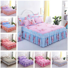 Lace Floral Bed Skirt Pillowcases Bedroom Bedding Full Queen King Multi Styles