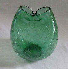 Green Blenko Mid Century Crackle Glass Pinched Top Vase