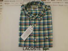 LACOSTE Shirt OXFORD Check Blue Multi Cotton Short Sleeve Size M Top BNWT RRP£85